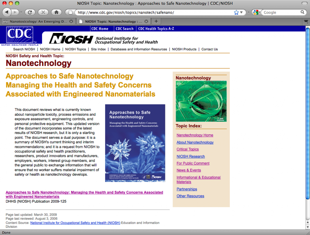 Approaches to Safety Nanotechnology