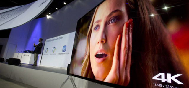 A Sony 85-inch Bravia XBR-X950B 4K television plays video after being unveiled during a Sony news conference at the Consumer Electronics Show (CES), in Las Vegas